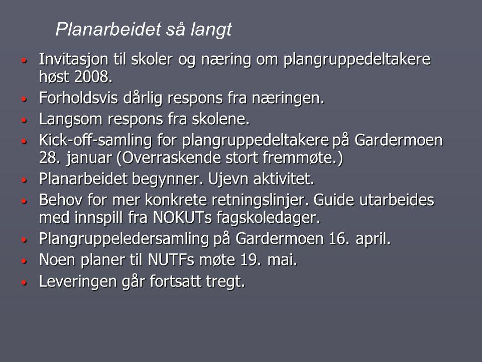 Planarbeidet så langt Invitasjon til skoler og næring om plangruppedeltakere høst 2008. Forholdsvis dårlig respons fra næringen.