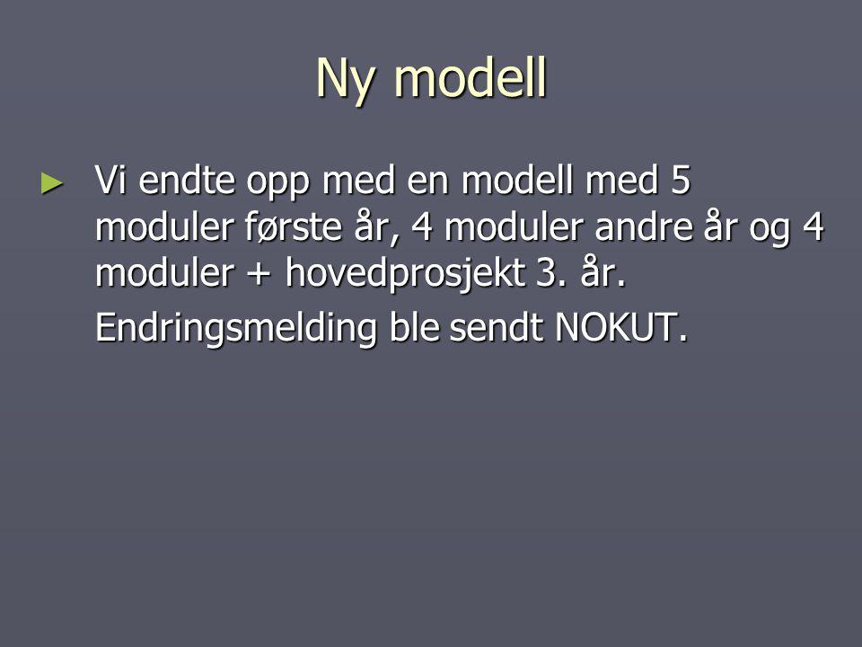 Ny modell Vi endte opp med en modell med 5 moduler første år, 4 moduler andre år og 4 moduler + hovedprosjekt 3. år.