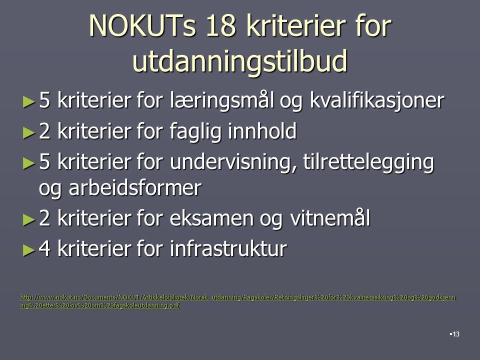 NOKUTs 18 kriterier for utdanningstilbud