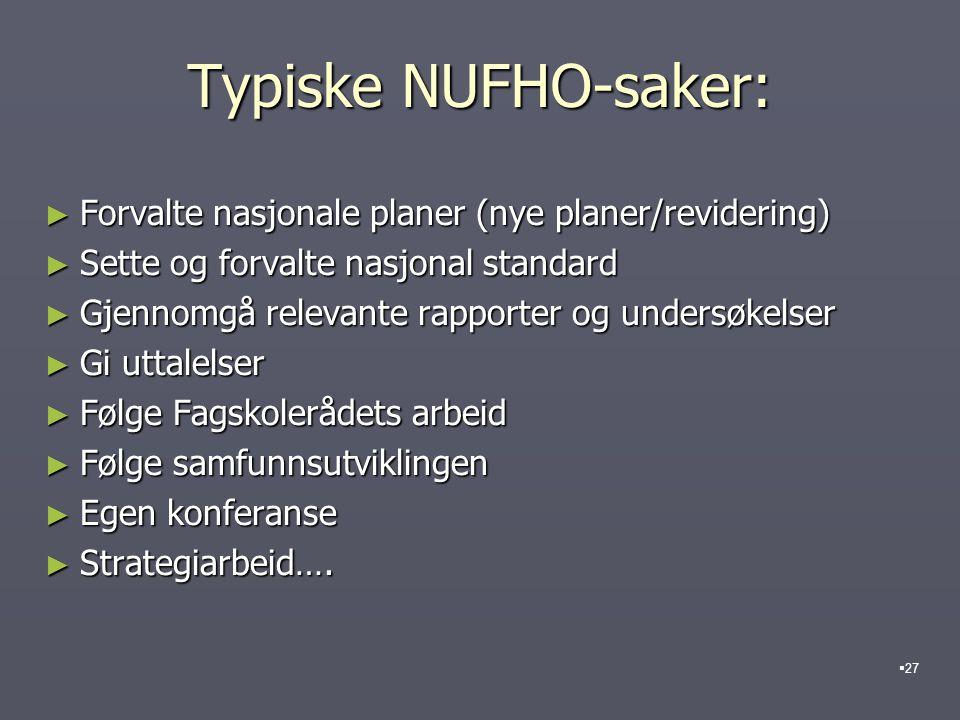 Typiske NUFHO-saker: Forvalte nasjonale planer (nye planer/revidering)