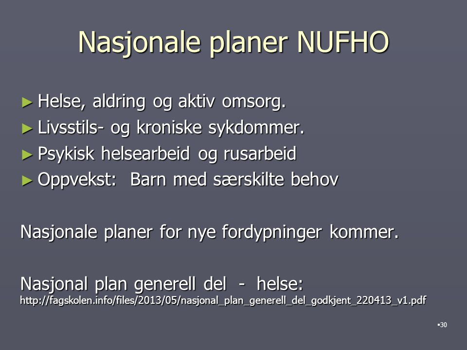 Nasjonale planer NUFHO