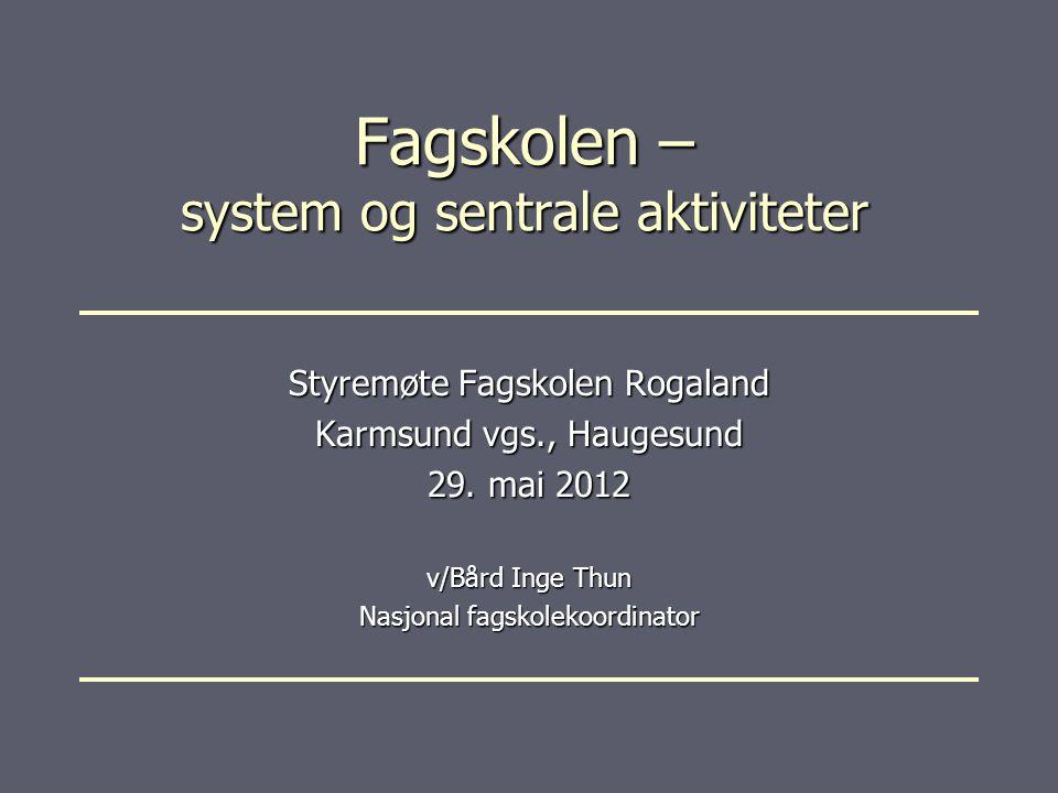 Fagskolen – system og sentrale aktiviteter