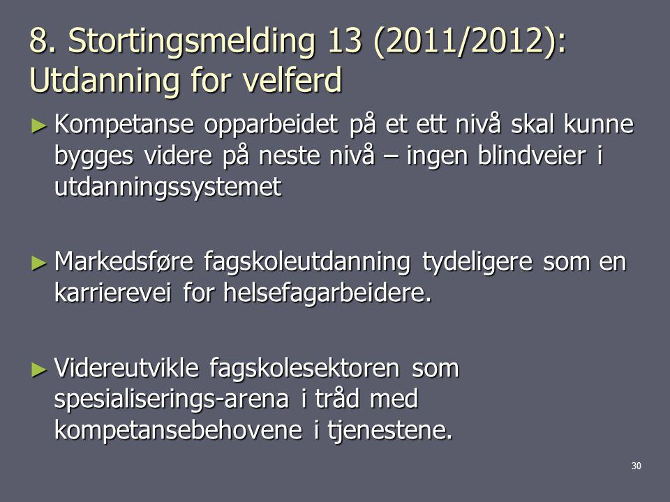 8. Stortingsmelding 13 (2011/2012): Utdanning for velferd