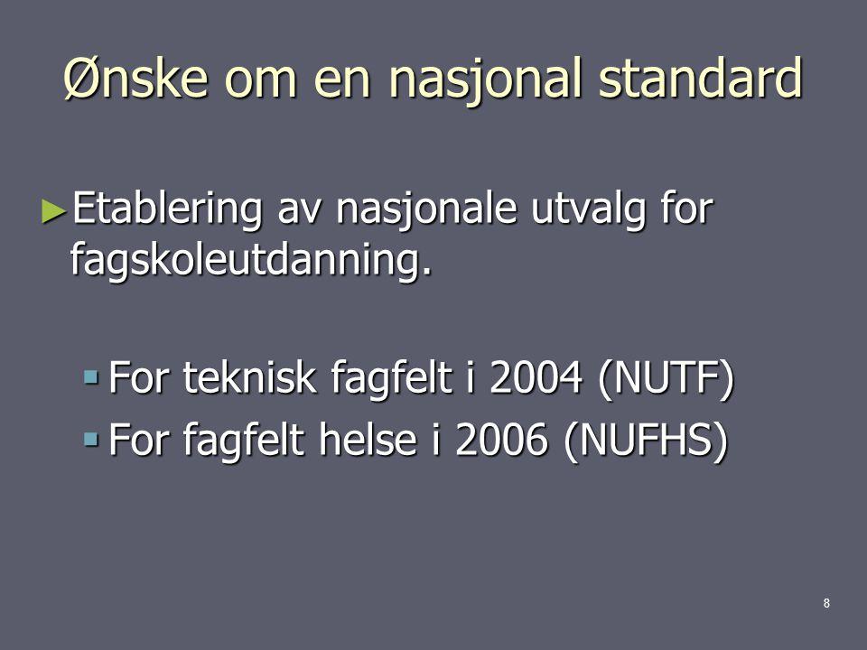 Ønske om en nasjonal standard