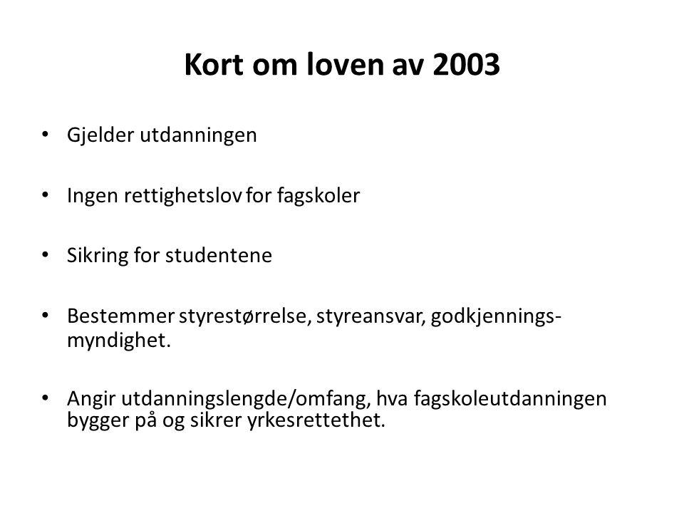 Kort om loven av 2003 Gjelder utdanningen