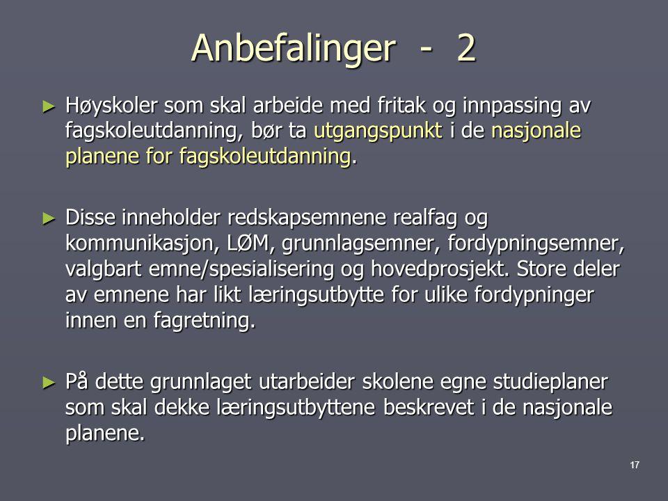 Anbefalinger - 2