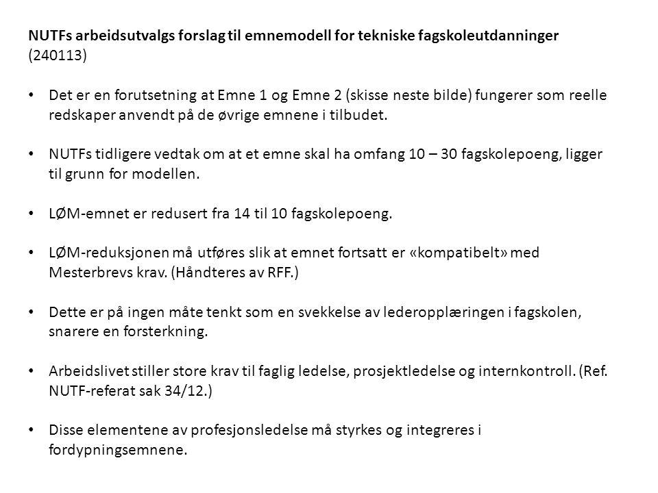 NUTFs arbeidsutvalgs forslag til emnemodell for tekniske fagskoleutdanninger (240113)