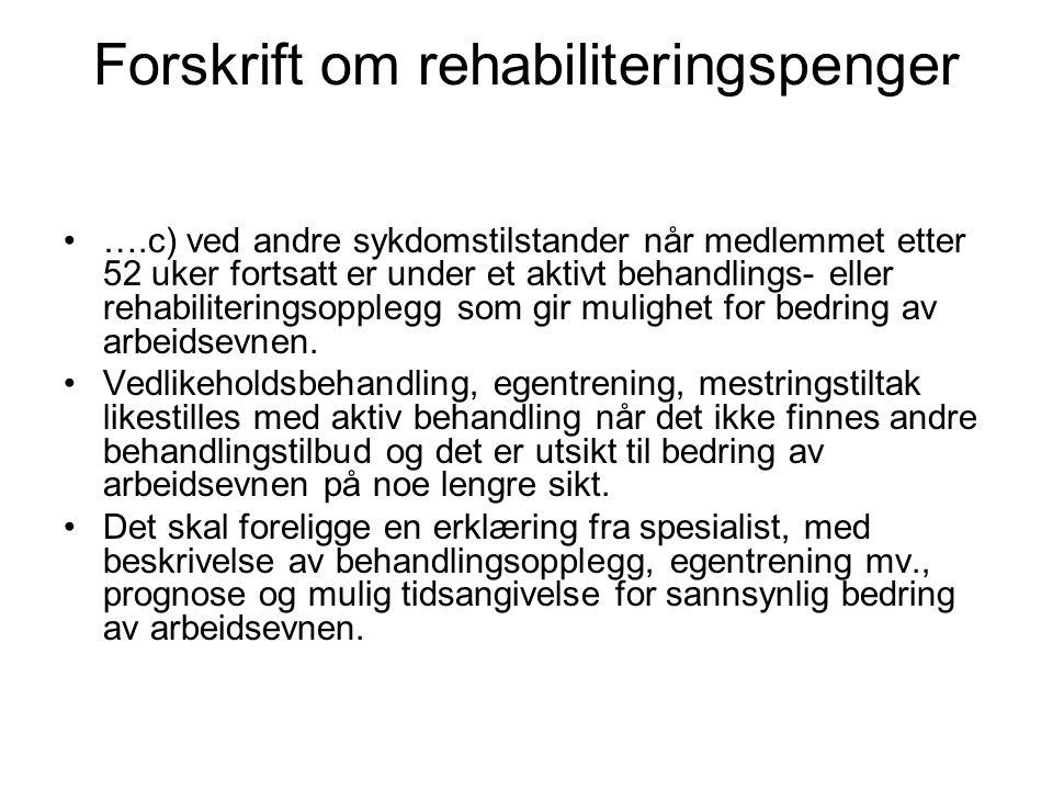 Forskrift om rehabiliteringspenger