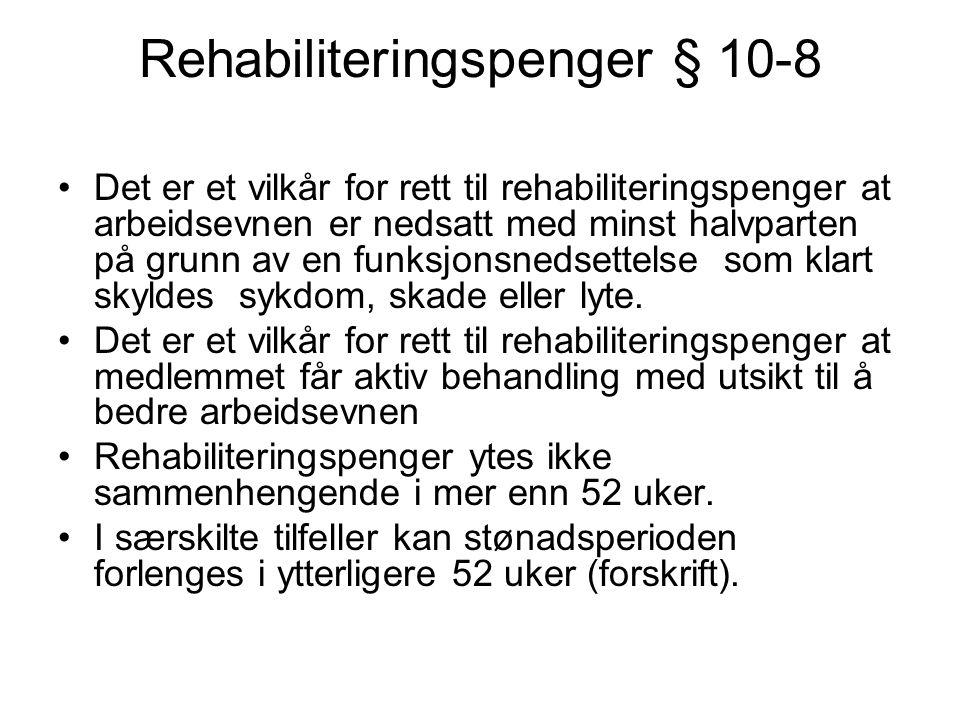 Rehabiliteringspenger § 10-8