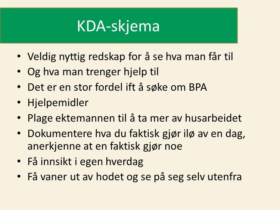 KDA-skjema Veldig nyttig redskap for å se hva man får til