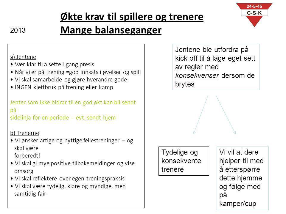 Økte krav til spillere og trenere Mange balanseganger