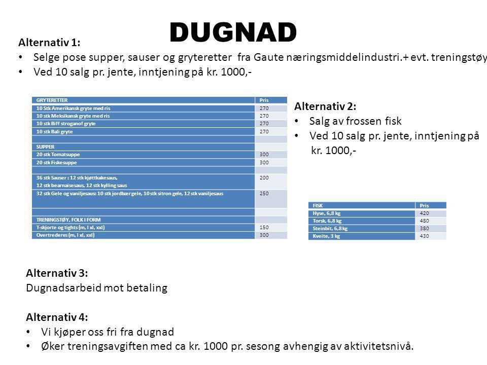 DUGNAD Alternativ 1: Selge pose supper, sauser og gryteretter fra Gaute næringsmiddelindustri.+ evt. treningstøy.
