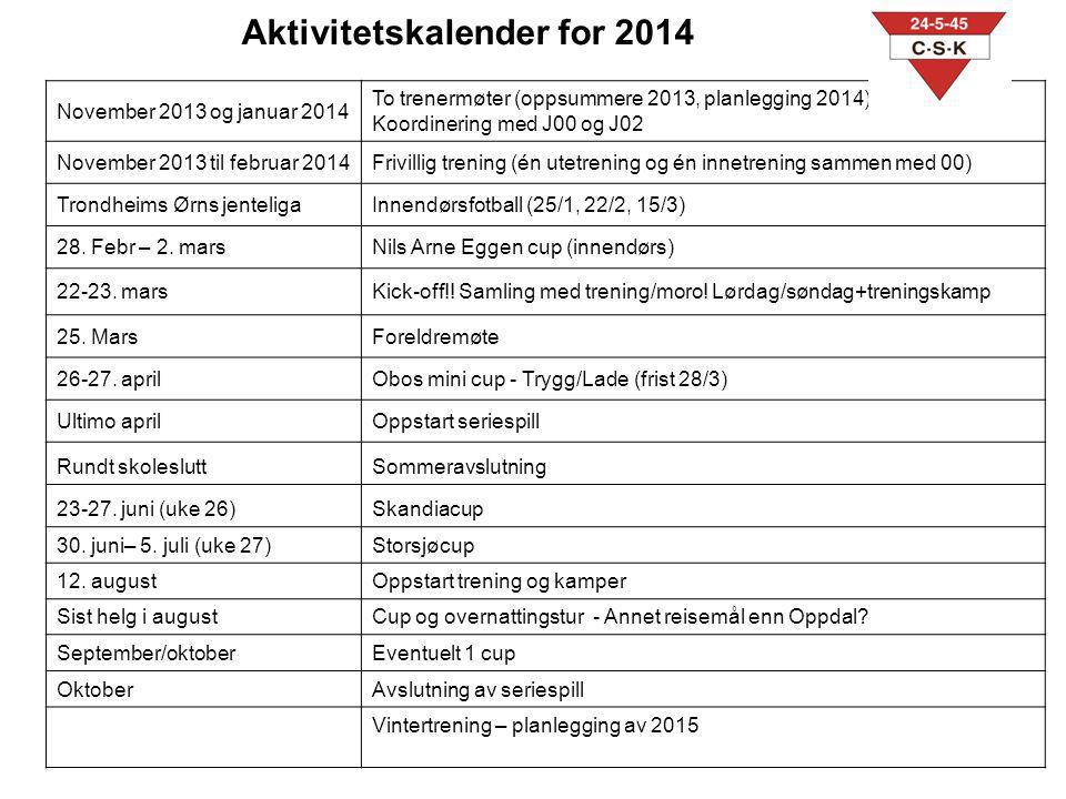 Aktivitetskalender for 2014