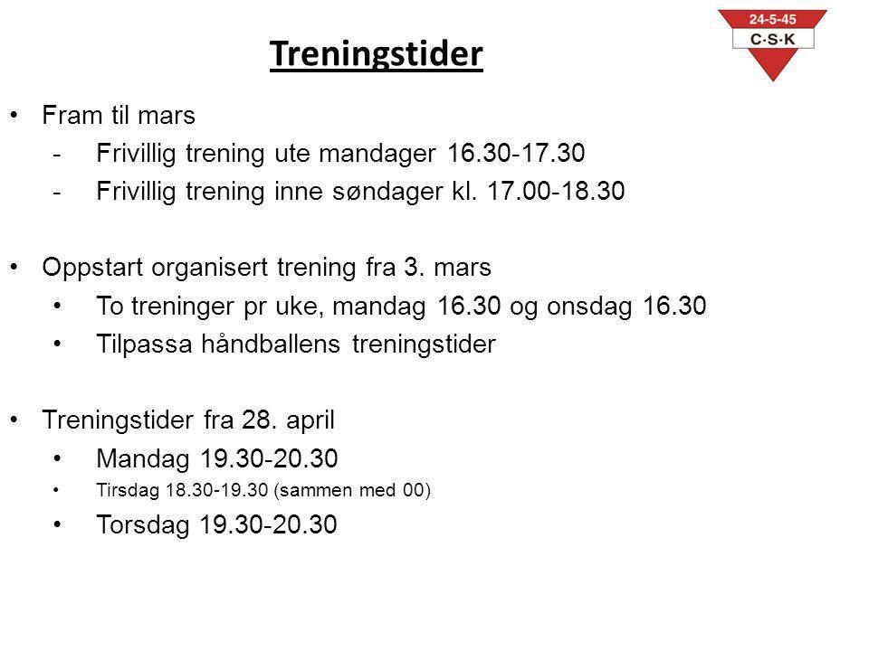 Treningstider Fram til mars Frivillig trening ute mandager 16.30-17.30