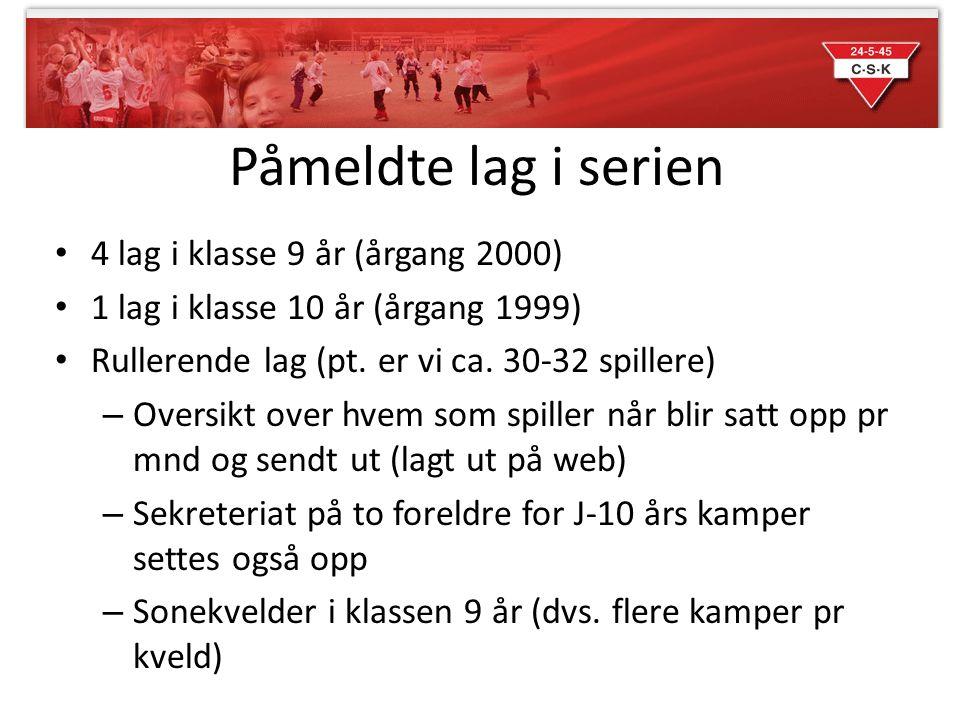 Påmeldte lag i serien 4 lag i klasse 9 år (årgang 2000)