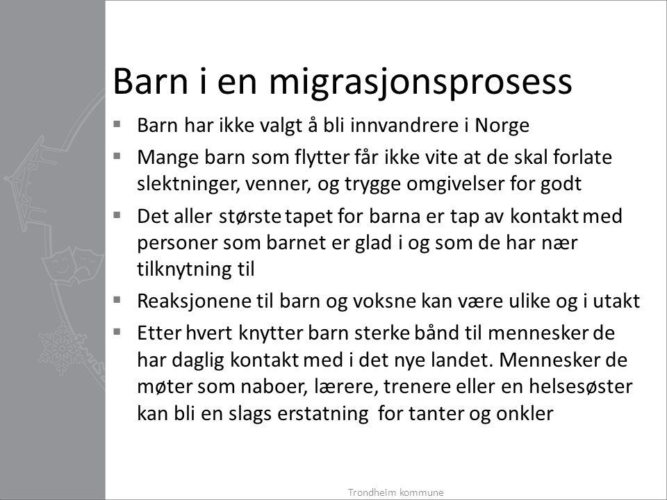 Barn i en migrasjonsprosess