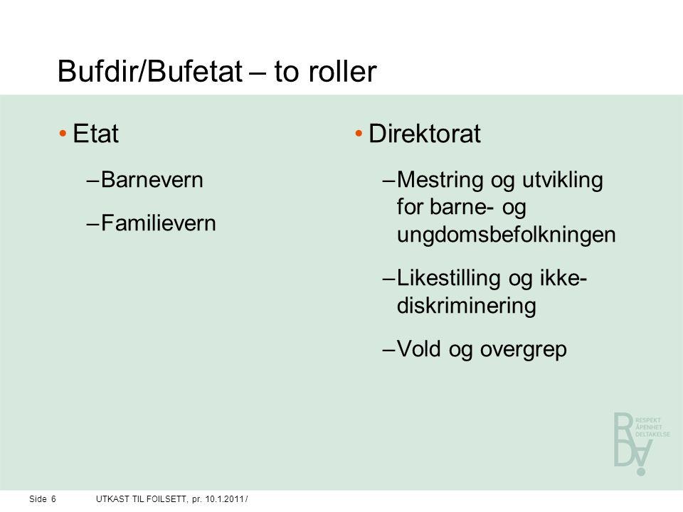 Bufdir/Bufetat – to roller