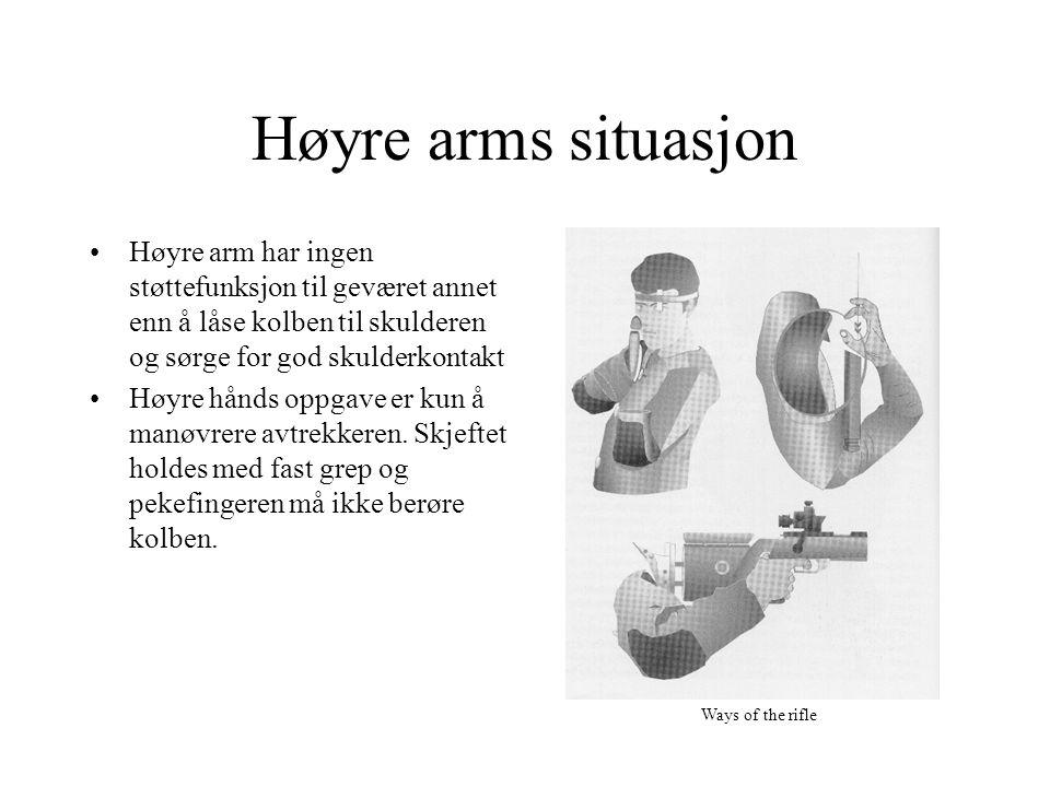 Høyre arms situasjon Høyre arm har ingen støttefunksjon til geværet annet enn å låse kolben til skulderen og sørge for god skulderkontakt.