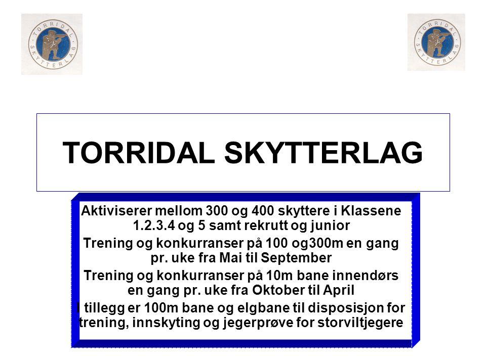 TORRIDAL SKYTTERLAG Aktiviserer mellom 300 og 400 skyttere i Klassene 1.2.3.4 og 5 samt rekrutt og junior.