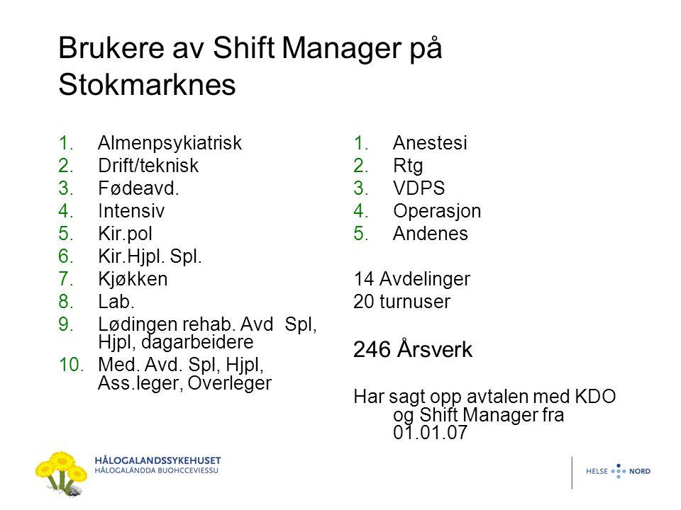 Brukere av Shift Manager på Stokmarknes