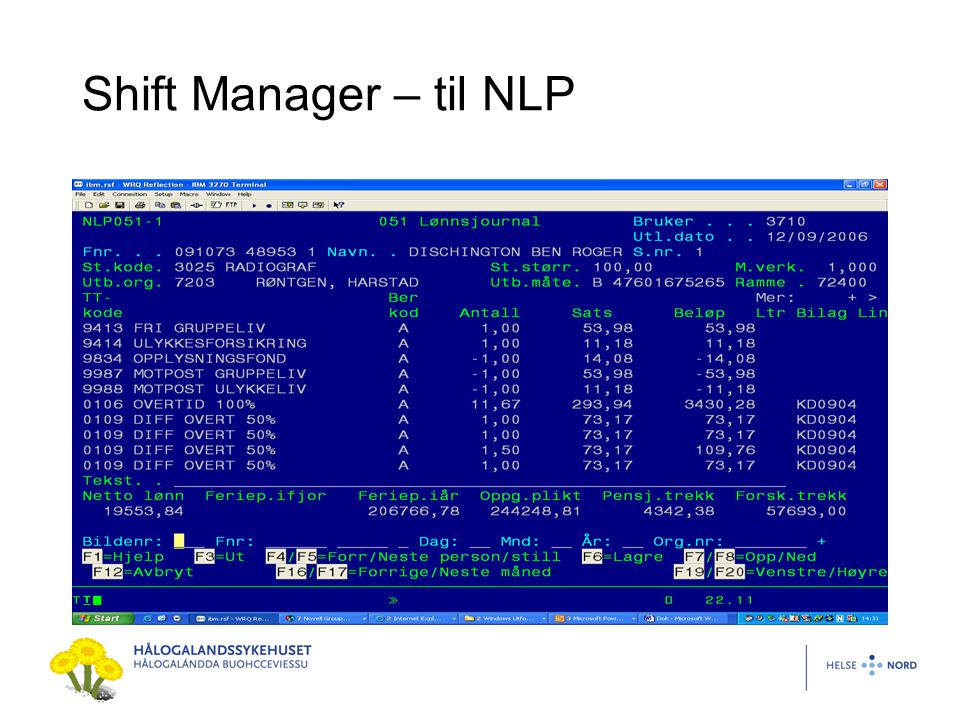 Shift Manager – til NLP