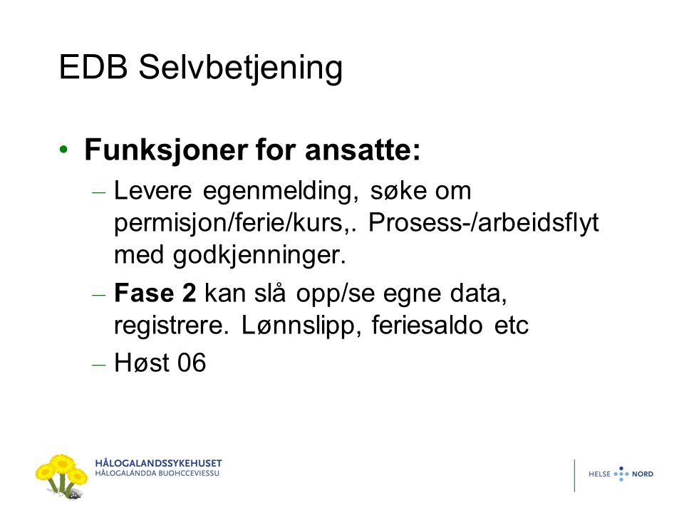 EDB Selvbetjening Funksjoner for ansatte:
