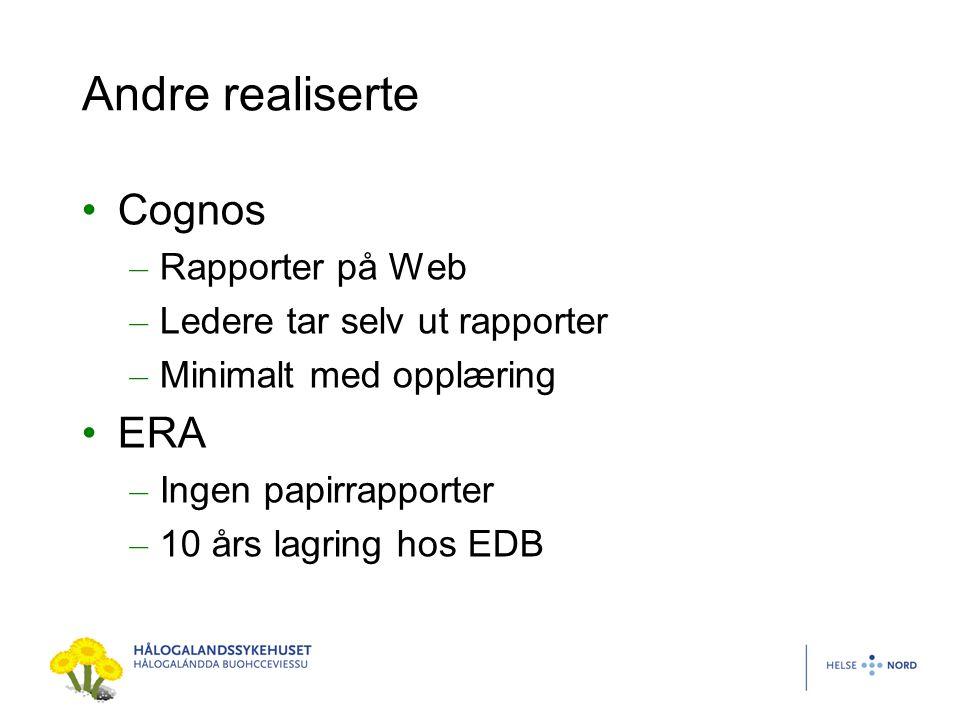 Andre realiserte Cognos ERA Rapporter på Web