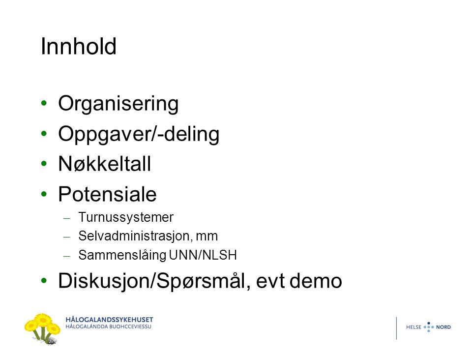 Innhold Organisering Oppgaver/-deling Nøkkeltall Potensiale