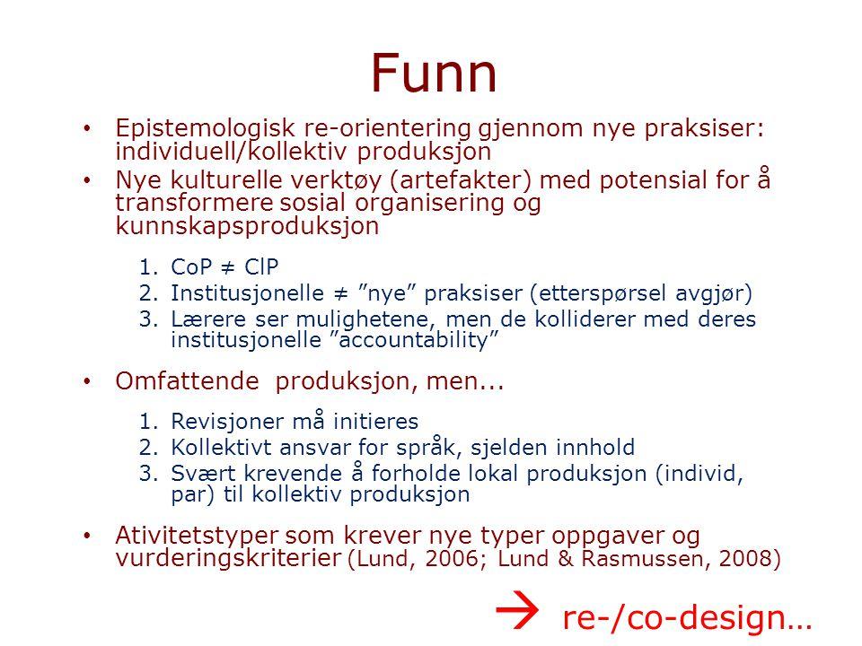Funn Epistemologisk re-orientering gjennom nye praksiser: individuell/kollektiv produksjon.