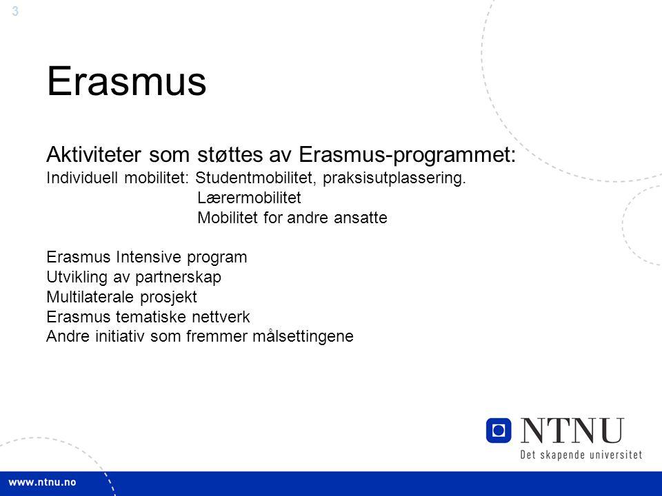 Erasmus Aktiviteter som støttes av Erasmus-programmet:
