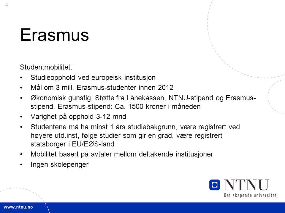 Erasmus Studentmobilitet: Studieopphold ved europeisk institusjon