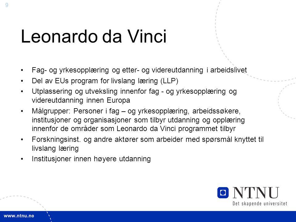 Leonardo da Vinci Fag- og yrkesopplæring og etter- og videreutdanning i arbeidslivet. Del av EUs program for livslang læring (LLP)