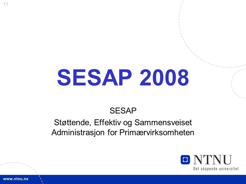 SESAP 2008 SESAP Støttende, Effektiv og Sammensveiset Administrasjon for Primærvirksomheten