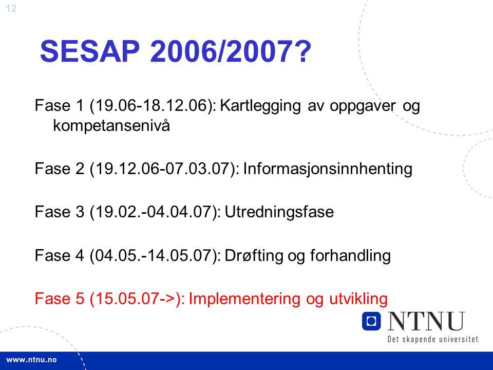 SESAP 2006/2007 Fase 1 (19.06-18.12.06): Kartlegging av oppgaver og kompetansenivå. Fase 2 (19.12.06-07.03.07): Informasjonsinnhenting.