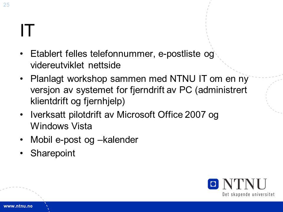 IT Etablert felles telefonnummer, e-postliste og videreutviklet nettside.