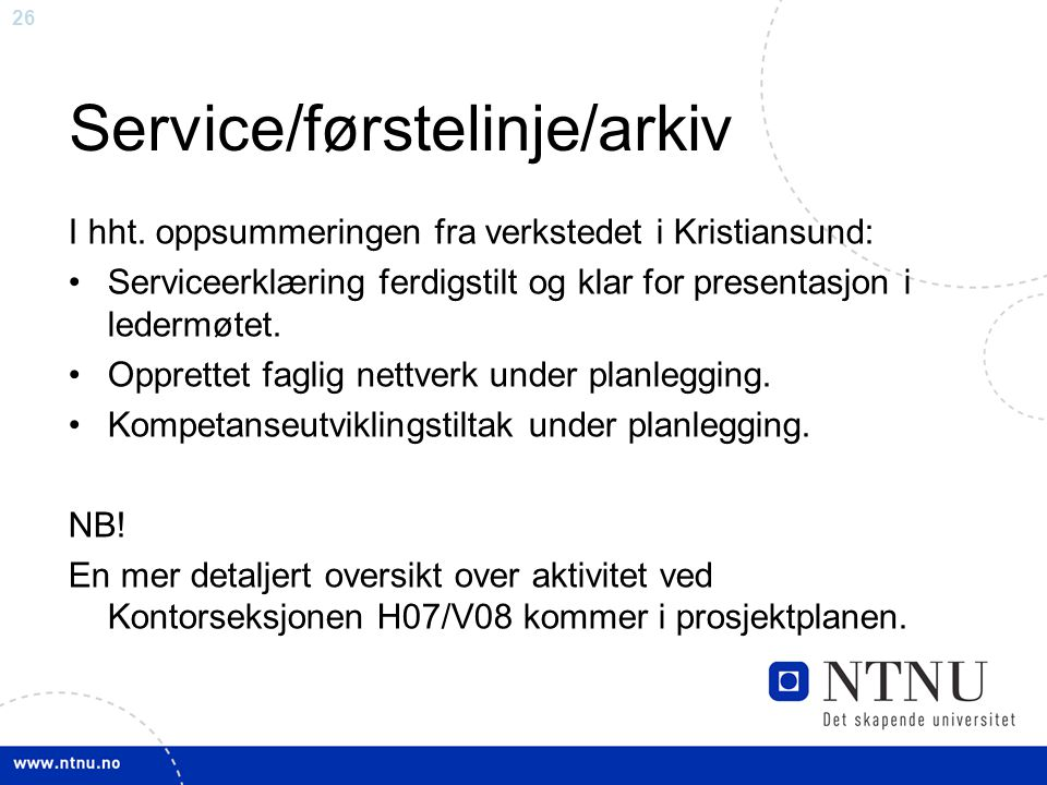 Service/førstelinje/arkiv