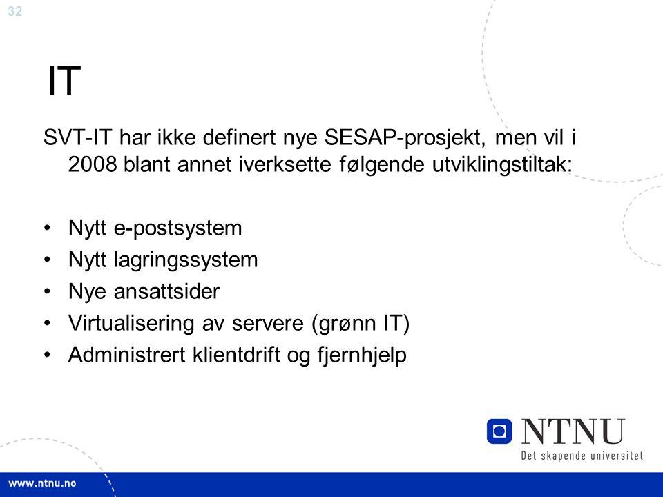 IT SVT-IT har ikke definert nye SESAP-prosjekt, men vil i 2008 blant annet iverksette følgende utviklingstiltak: