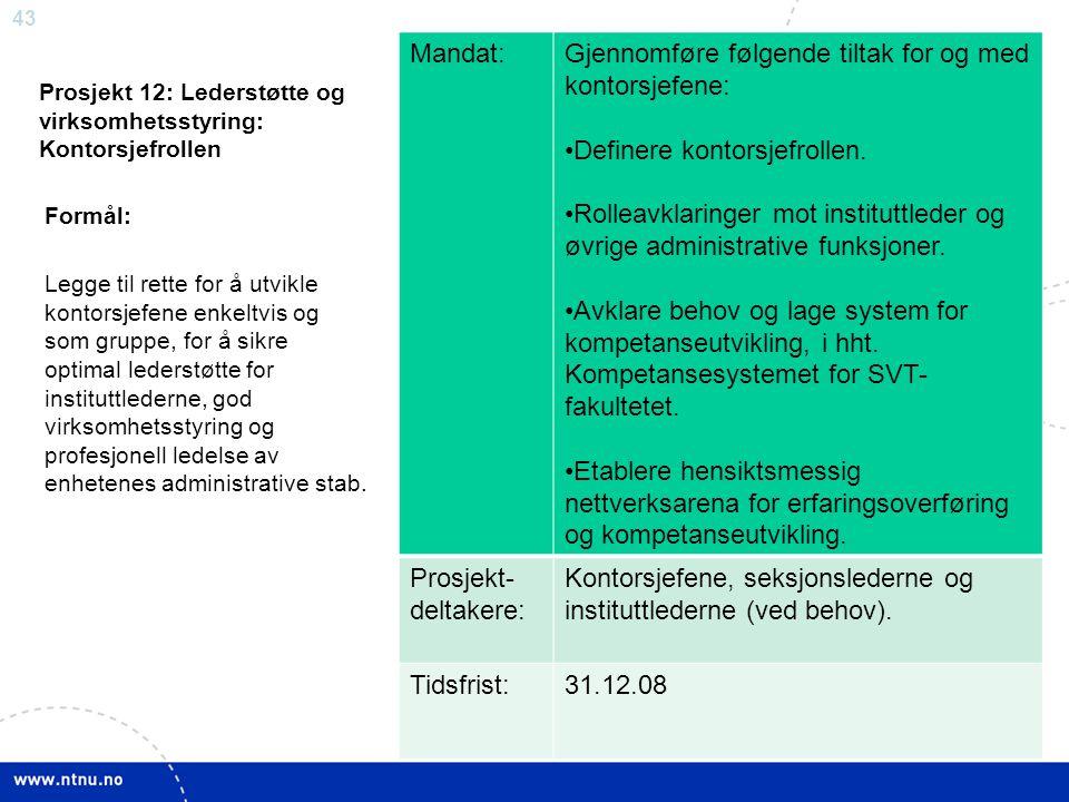 Prosjekt 12: Lederstøtte og virksomhetsstyring: Kontorsjefrollen