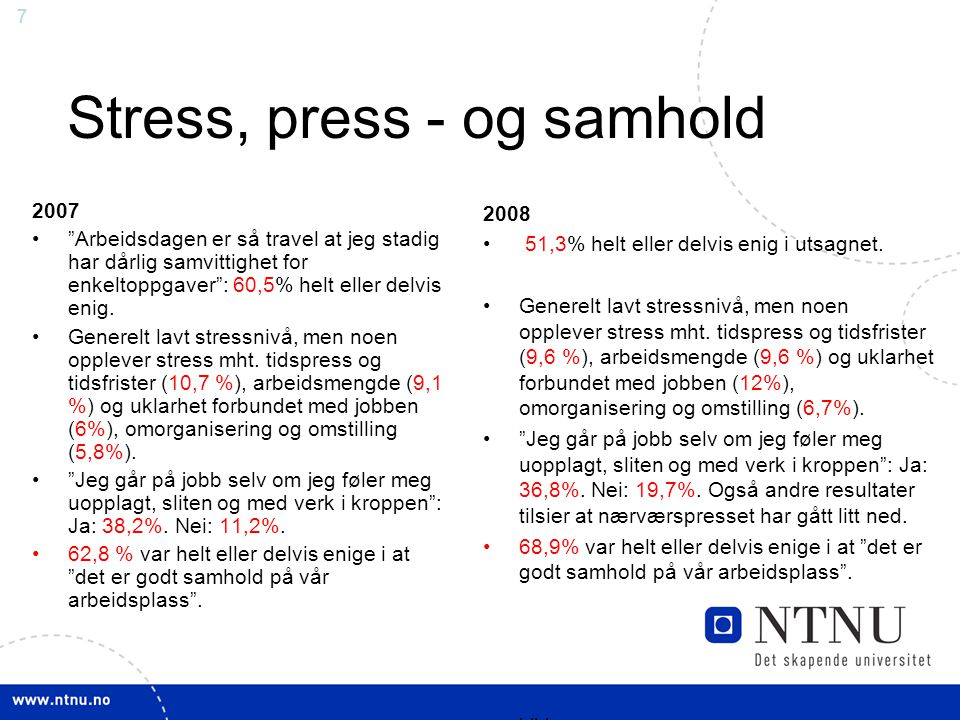 Stress, press - og samhold