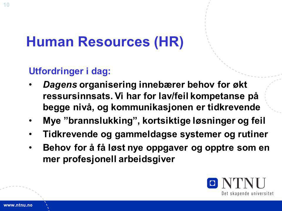 Human Resources (HR) Utfordringer i dag: