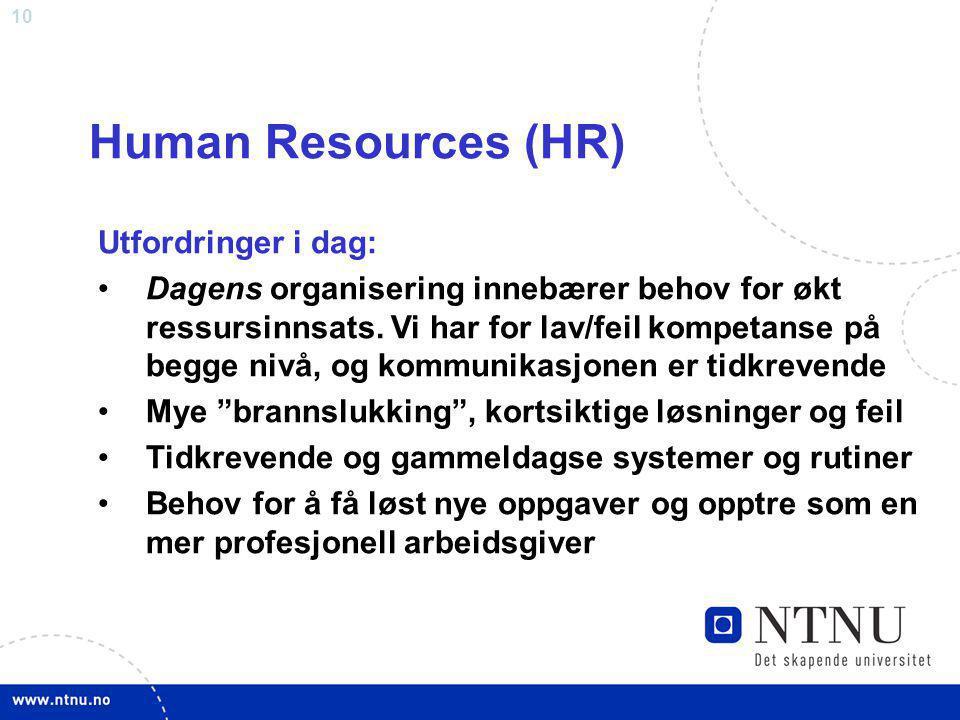 Human Resources (HR) Utfordringer i dag:
