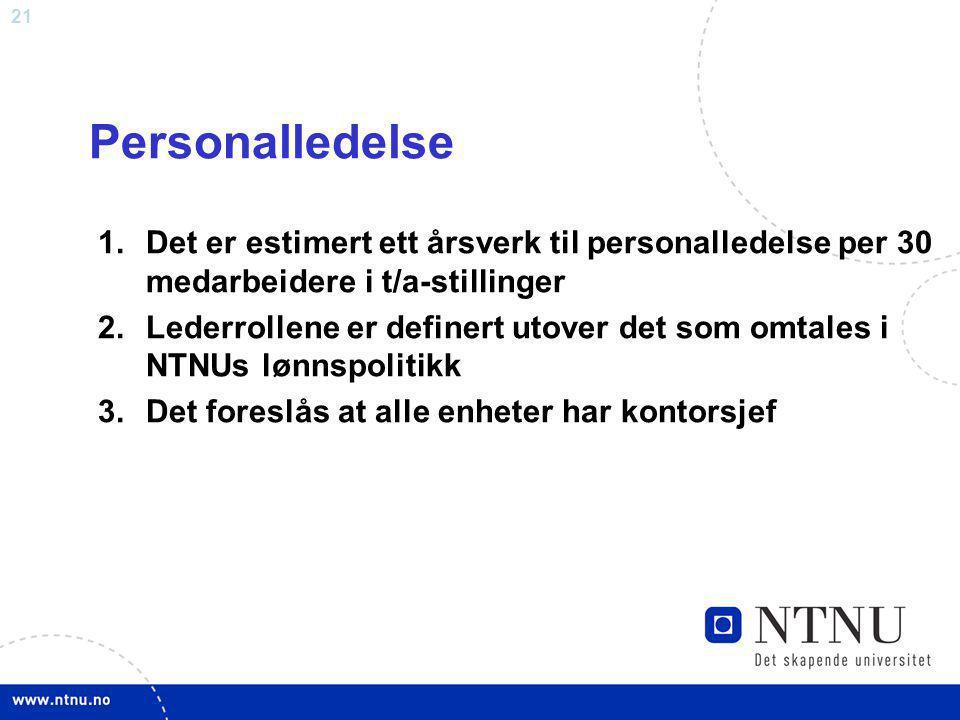 Personalledelse Det er estimert ett årsverk til personalledelse per 30 medarbeidere i t/a-stillinger.