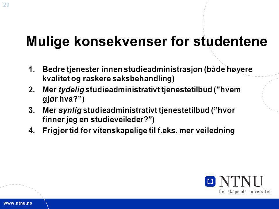 Mulige konsekvenser for studentene