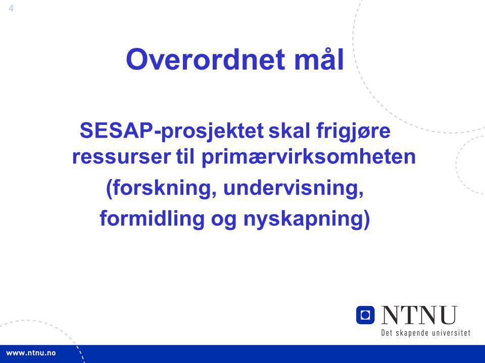 Overordnet mål SESAP-prosjektet skal frigjøre ressurser til primærvirksomheten. (forskning, undervisning,