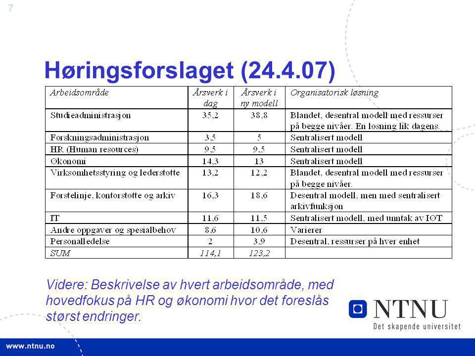 Høringsforslaget (24.4.07) Videre: Beskrivelse av hvert arbeidsområde, med hovedfokus på HR og økonomi hvor det foreslås størst endringer.