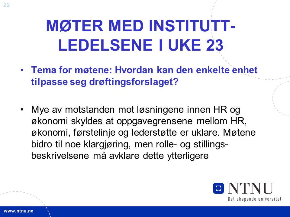MØTER MED INSTITUTT-LEDELSENE I UKE 23