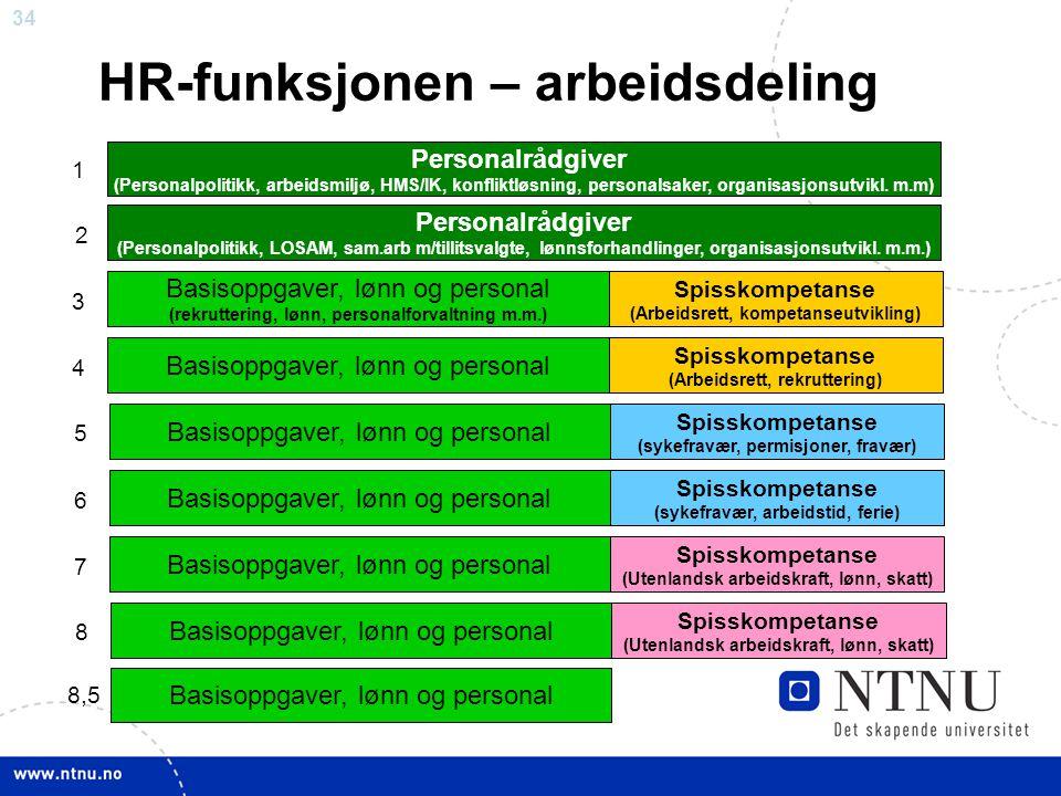 HR-funksjonen – arbeidsdeling