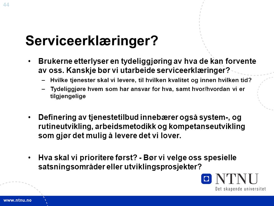 Serviceerklæringer Brukerne etterlyser en tydeliggjøring av hva de kan forvente av oss. Kanskje bør vi utarbeide serviceerklæringer