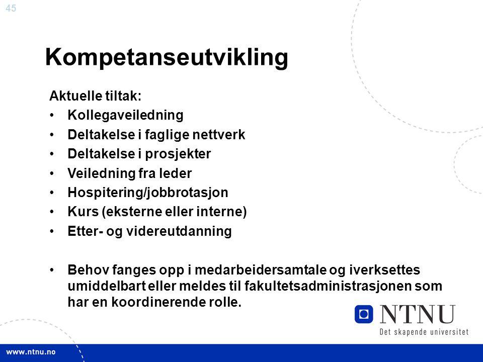 Kompetanseutvikling Aktuelle tiltak: Kollegaveiledning