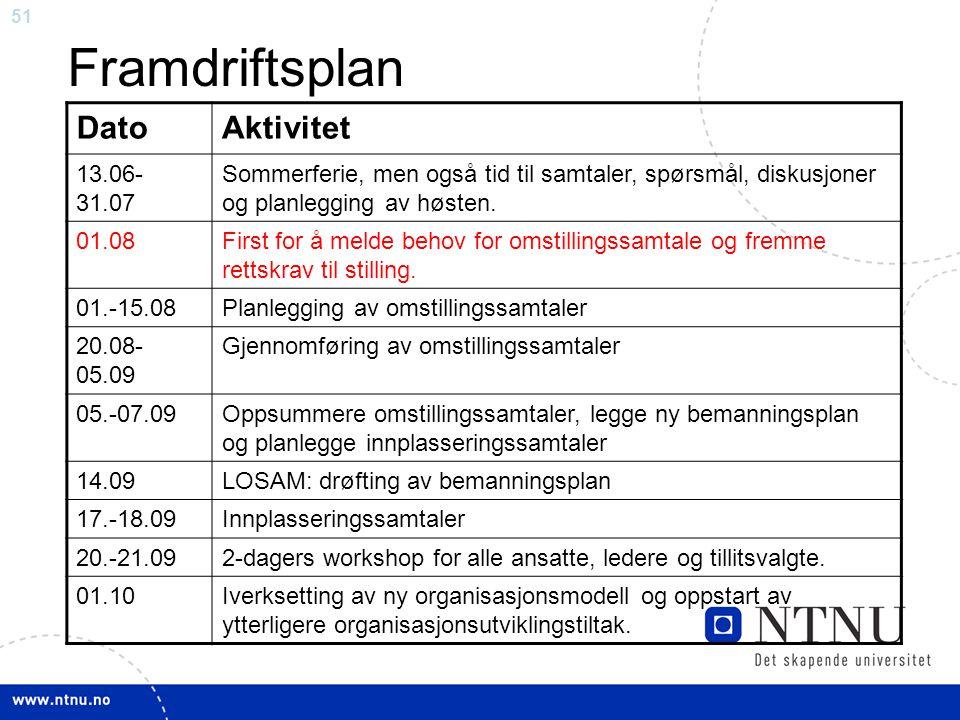 Framdriftsplan Dato Aktivitet 13.06-31.07
